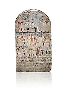 """Ancient Egyptian stele of s standard bearer Maienhekau, limestone, New Kingdom, 18th Dynasty, (1458-1425 BC), DAbydos,  Egyptian Museum, Turin. white background,<br /> <br /> In the top registerMaienhekau makes offerings to Ptah, Osiris and Horus. In the middle he is shown with his wife reveiving offerings from his 2 sons. In the lower register another son with 3 gaughters is offering a formula to Maienhekau, also listing his titles. He was standard bearer (captain) on several warships and the """"bearer of arms """" of Thutmosis II. The current depictions are over an earlier relief which can be seen in places where the later stucco has come away. .<br /> <br /> If you prefer to buy from our ALAMY PHOTO LIBRARY  Collection visit : https://www.alamy.com/portfolio/paul-williams-funkystock/ancient-egyptian-art-artefacts.html  . Type -   Turin   - into the LOWER SEARCH WITHIN GALLERY box. Refine search by adding background colour, subject etc<br /> <br /> Visit our ANCIENT WORLD PHOTO COLLECTIONS for more photos to download or buy as wall art prints https://funkystock.photoshelter.com/gallery-collection/Ancient-World-Art-Antiquities-Historic-Sites-Pictures-Images-of/C00006u26yqSkDOM"""