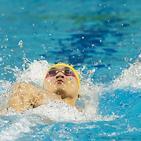 Xu Jiayu of China placed fourth in the Men's 100m Backstroke competition at the FINA Champions Swim Series at the Danube Arena in Budapest, Hungary on May 11, 2019. ATTILA VOLGYI