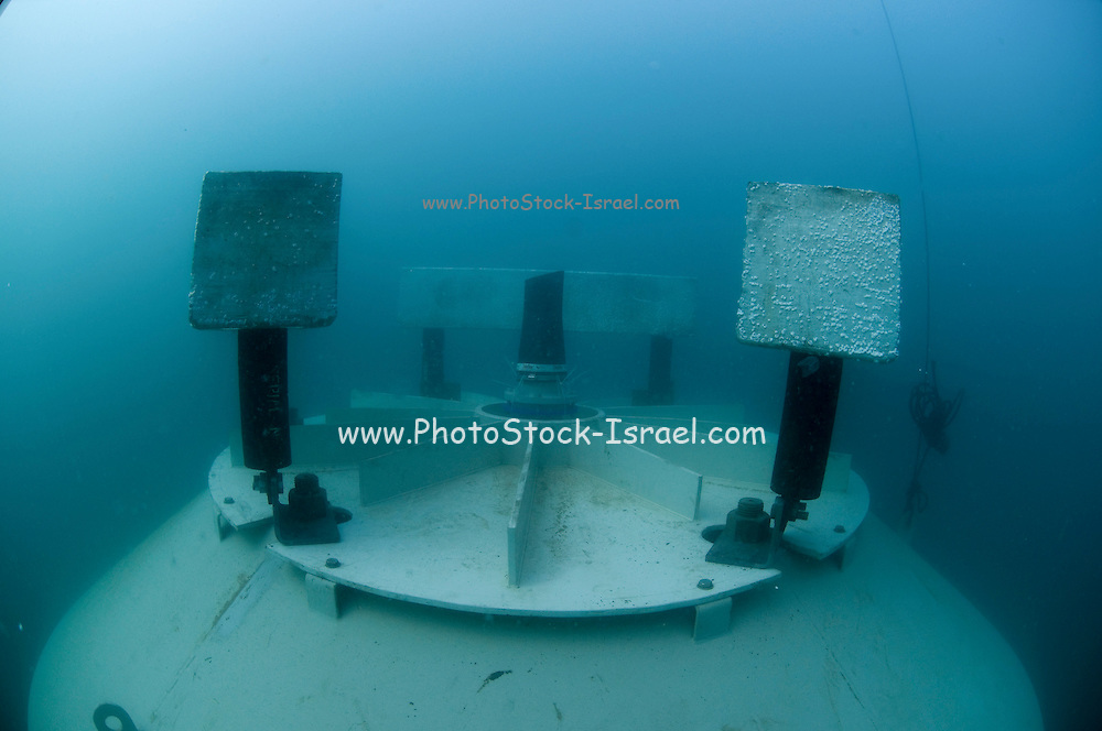 """Israel, Hadera, underwater photography of the offshore suction head for the desalinization plant. The facility will produce 127 Million m3 per a year and will be operated in the """"reveres osmosis"""" technique. Zinc blocks to reduce corrosion can be seen on the top of the suction head"""