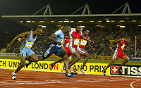 Photograph: Scott Heavey.<br />IAAf Super Grand Prix. Norwich Union London Athletics meeting from Crystal Palace. 08/08/2003.<br />Dwaine Chambers wins the 100m.