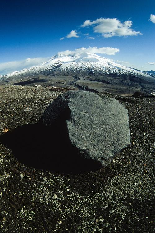 Volcanic Rock and Mt. St. Helens (Fisheye), Mt. St. Helens National Volcanic Monument, Washington, US