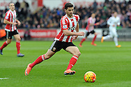 Southampton's Shane Long in action. Barclays Premier league match, Swansea city v Southampton at the Liberty Stadium in Swansea, South Wales on Saturday 13th February 2016.<br /> pic by  Carl Robertson, Andrew Orchard sports photography.