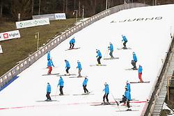 February 8, 2019 - Workers preparing the hill at the FIS Ski Jumping World Cup Ladies Ljubno on February 8, 2019 in Ljubno, Slovenia. (Credit Image: © Rok Rakun/Pacific Press via ZUMA Wire)