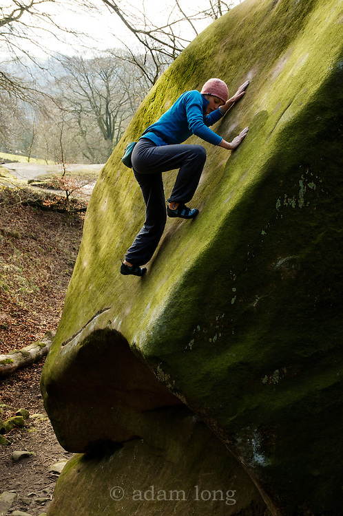 Katy Whittaker making the first female ascent of The Angel's Share, Black Rocks, Peak Distict