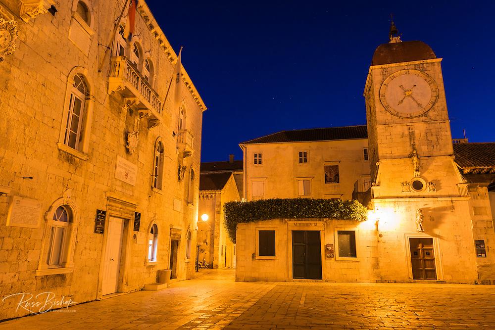 Church of St. Maria de Platea at night, old town Trogir, Dalmatian Coast, Croatia