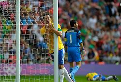 Olympics: Football, Final, Mexico - Brazil, London, 11.08.2012.Leandro Damiao (BRA) looks dejected.©pixathlon.