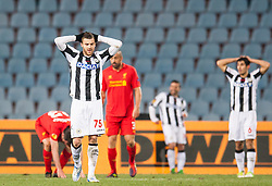 06.12.2012, Stadio Friuli, Udine, ITA, UEFA EL, Udinese Calcio vs FC Liverpool, Gruppe A, im Bild Thomas Heurtaux (# 75, Udinese Calcio), Davide Faraoni (# 06, Udinese Calcio) enttaeuscht nach dem Spiel // during the UEFA Europa League group A match between Udinese Calcio and Liverpool FC at the Stadio Friuli, Udinese, Italy on 2012/12/06. EXPA Pictures © 2012, PhotoCredit: EXPA/ Juergen Feichter