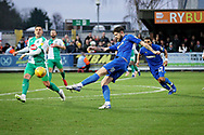 AFC Wimbledon midfielder Anthony Wordsworth (40) with a volley to equalise 1-1 during the EFL Sky Bet League 1 match between AFC Wimbledon and Plymouth Argyle at the Cherry Red Records Stadium, Kingston, England on 26 December 2018.