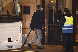 © Licensed to London News Pictures. 15/02/2021. London, UK. The first passengers to go into hotel quarantine arrive at a Radisson hotel near Heathrow. People entering the UK from a 'red list' of 33 high risk countries will have to quarantine at hotels for 10 days to try and stop new coronavirus variants entering the country. Photo credit: Peter Macdiarmid/LNP