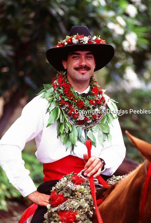 Paniolo on horseback, Aloha Week, Big Island of Hawaii