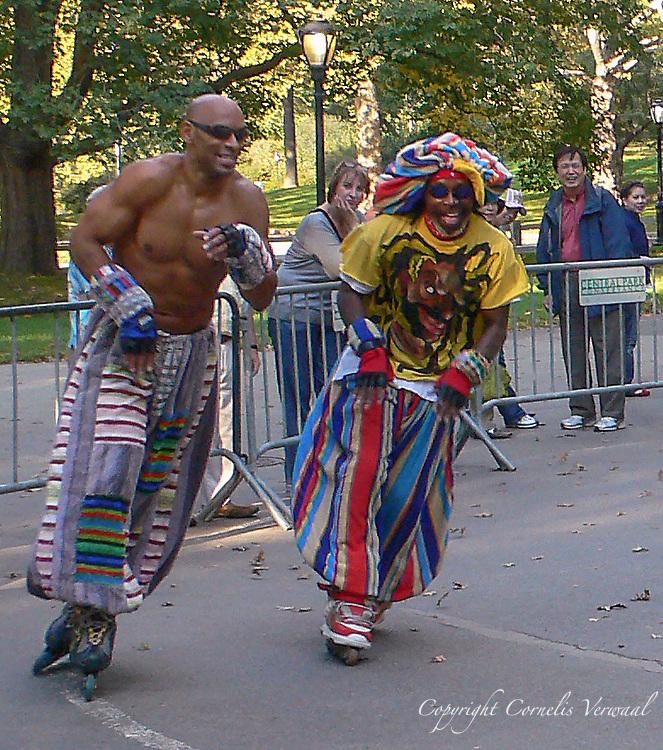 Colorful men skating at the Central Park Roller Disco