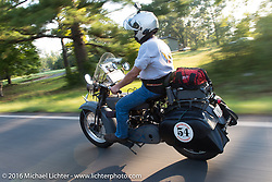 David Lloyd riding his 1919 Harley-Davidson during Stage 3 of the Motorcycle Cannonball Cross-Country Endurance Run, which on this day ran from Columbus, GA to Chatanooga, TN., USA. Sunday, September 7, 2014.  Photography ©2014 Michael Lichter.