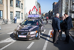 The famous 'Rodania' car approaches the start of the Ronde Van Vlaanderen - a 153.2 km road race, starting and finishing in Oudenaarde on April 2, 2017, in East Flanders, Belgium.
