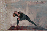 Woman practicing Bound Extended Side Angle Yoga Pose in an ancient Sanskrit studio. Photo based illustration. Woman demonstrating yoga poses and experiencing the spirit of joyfulness.