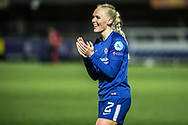 Chelsea Ladies Maria Thorisdottir (2) celebrates after the final whistle during the UEFA Women's Champions League quarter final second leg match between Chelsea Ladies and Montpellier Feminines at the Kings Sports Ground, New Malden, United Kingdom on 28 March 2018. Picture by Robin Pope.