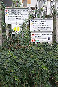 walking path sign to vineyards andlau alsace france