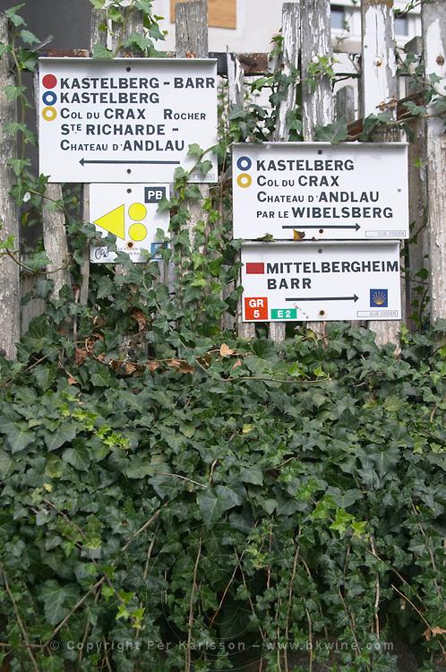 walking path sign to vineyards andlau alsace france