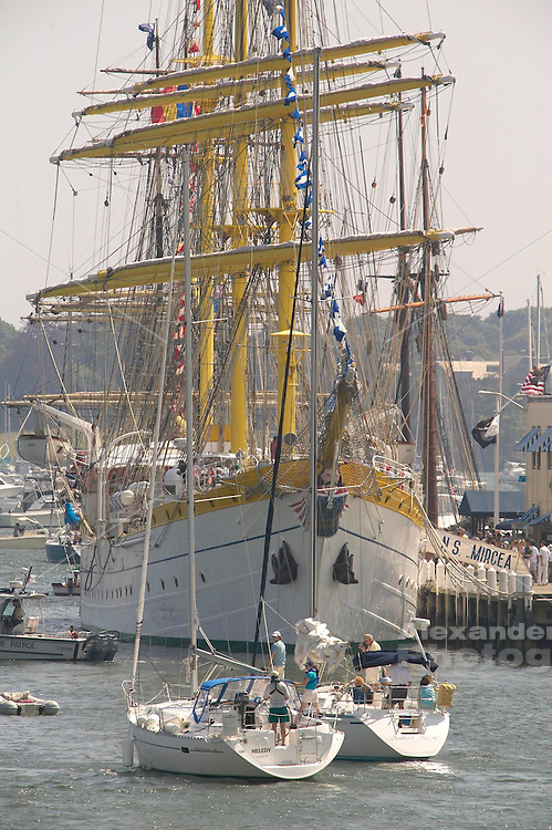 USA, Newport, RI - 2004 Tallships event where square rigged sailing ships from around the world visit the city and offer tours to visitors.