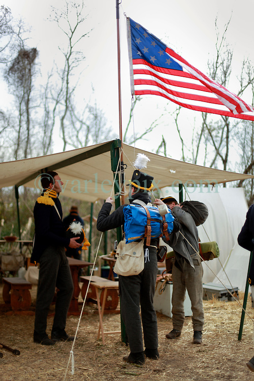11 January 2015. New Orleans, Louisiana. <br /> Bicentennial reenactment of the Battle of New Orleans in Chalmette. <br /> American troops reenact the January 8th, 1815 battle against British foes marking the 200th anniversary of the Battle of New Orleans in Chalmette. Despite being heavily outnumbering by the British, the Americans emerged victorious with a mere 70 casualties compared to over 2,000 British casualties, with many senior officers amongst the dead and injured. The American victory was hailed as miracle.<br /> Photo; Charlie Varley/varleypix.com