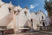 The facade of the fortress like Casa de Ejercicios at the Sanctuary of Atotonilco an important Catholic shrine in Atotonilco, Mexico.