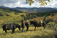 Horses and riders at Faro, Yukon