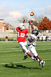 20 October 2012:  Tyrone Walker goes up for a reception that results in a touchdown defended by Sybhrain Berry during an NCAA Missouri Valley Football Conference football game between the Missouri State Bears and the Illinois State Redbirds at Hancock Stadium in Normal IL