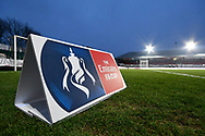 General view inside Rodney Parade stadium showing an Emirate FA Cup board before the The FA Cup match between Newport County and Middlesbrough at Rodney Parade, Newport, Wales on 5 February 2019.