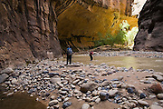 Two hikers wade up the Zion Narrows, Zion National Park, Utah on September 16, 2006.