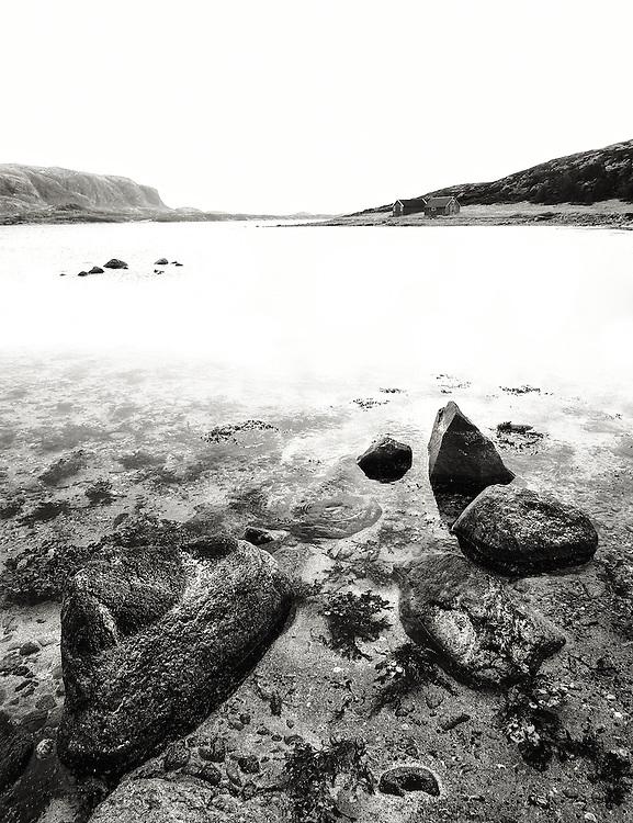 Norway - Rocks in fjord BW