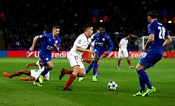 Samir Nasri of Sevilla takes on the Leicester City defence - Mandatory by-line: Robbie Stephenson/JMP - 14/03/2017 - FOOTBALL - King Power Stadium - Leicester, England - Leicester City v Sevilla - UEFA Champions League round of 16, second leg