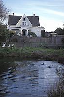 Duck pond and the MacCallum House, Mendocino California