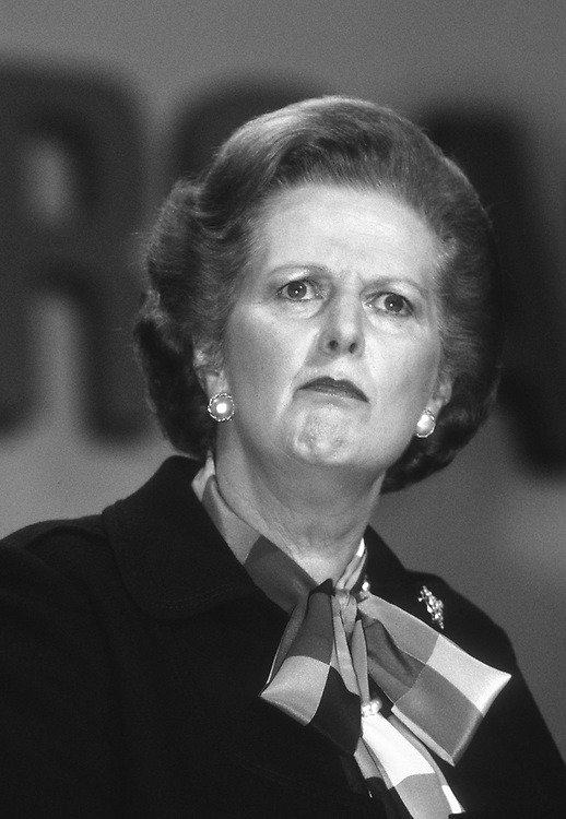 Prime-Minister Margaret Thatcher seen at the Conservative party conference in Brighton in 1982.