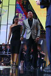 April 26, 2018 - Arlington, TX, U.S. - ARLINGTON, TX - APRIL 26: Ryan Shazier flanked by his Fiancee Michelle Rodriguez walks onto the stage for the Pittsburgh Steelers 28th pick during the first round at the 2018 NFL Draft at AT&T Statium on April 26, 2018 at AT&T Stadium in Arlington Texas.  (Photo by Rich Graessle/Icon Sportswire) (Credit Image: © Rich Graessle/Icon SMI via ZUMA Press)