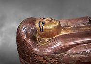 Acient Egyptian sacophagus of Kha -  inner coffin from  tomb of Kha, Theban Tomb 8 , mid-18th dynasty (1550 to 1292 BC), Turin Egyptian Museum. Grey background .<br /> <br /> If you prefer to buy from our ALAMY PHOTO LIBRARY  Collection visit : https://www.alamy.com/portfolio/paul-williams-funkystock/ancient-egyptian-art-artefacts.html  . Type -   Turin   - into the LOWER SEARCH WITHIN GALLERY box. Refine search by adding background colour, subject etc<br /> <br /> Visit our ANCIENT WORLD PHOTO COLLECTIONS for more photos to download or buy as wall art prints https://funkystock.photoshelter.com/gallery-collection/Ancient-World-Art-Antiquities-Historic-Sites-Pictures-Images-of/C00006u26yqSkDOM