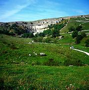 Limestone scenery, Malham Cove, Yorkshire Dales national park, England