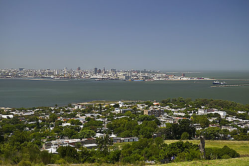 South America, Uruguay, Canelones, Montevideo, Cerro de Montevideo, view of Montevideo and Rio de la Plata estuary