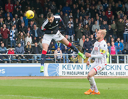 Dundee's Marcus Haber heads. Dundee 1 v 1 Ross County, SPFL Ladbrokes Premiership played 13/5/2017 at Dens Park.