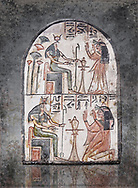 """Ancient Egyptian Ra stele , limestone, New Kingdom, 19th Dynasty, (1279-1190 BC), Deir el-Medina,  Egyptian Museum, Turin. white background, <br /> <br /> Akh iqer en Ra """" the excellent spirit of Ra' stele. One of three stele forund in different rooms of houses in Deir el-Medina where they stood in niches .<br /> <br /> Visit our HISTORIC WALL ART PRINT COLLECTIONS for more photo prints https://funkystock.photoshelter.com/gallery-collection/Historic-Antiquities-Photo-Wall-Art-Prints-by-Photographer-Paul-E-Williams/C00002uapXzaCx7Y<br /> <br /> Visit our Museum ART & ANTIQUITIES COLLECTIONS to browse more photo at: https://funkystock.photoshelter.com/p/museum-antiquities"""
