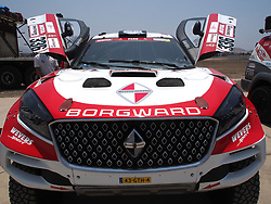 January 5, 2019 - Lima, Lima, Peru - Borgward 336, Erik Wevers from Netherlands and Ashley Garcia From Peru,  Borgward Rally team, passing the technical scrutineering. The Dakar rally runs this year 100% in Peru. (Credit Image: © Carlos Garcia Granthon/ZUMA Wire)