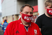 Middlesbrough fan ahead of the EFL Sky Bet Championship match between Middlesbrough and Bournemouth at the Riverside Stadium, Middlesbrough, England on 19 September 2020.