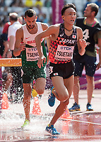 Athletics - 2017 IAAF London World Athletics Championships - Day Three, Morning Session<br /> <br /> 3000m Steeplechase Men - Round 1 (Heat 2)<br />  <br /> Hironori Tsuetaki (Japan) comes through the water jump at the London Stadium <br /> <br /> COLORSPORT/DANIEL BEARHAM