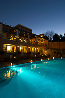 Swimming pool at twilight, The Westcliff Hotel, Johannesburg, South Africa