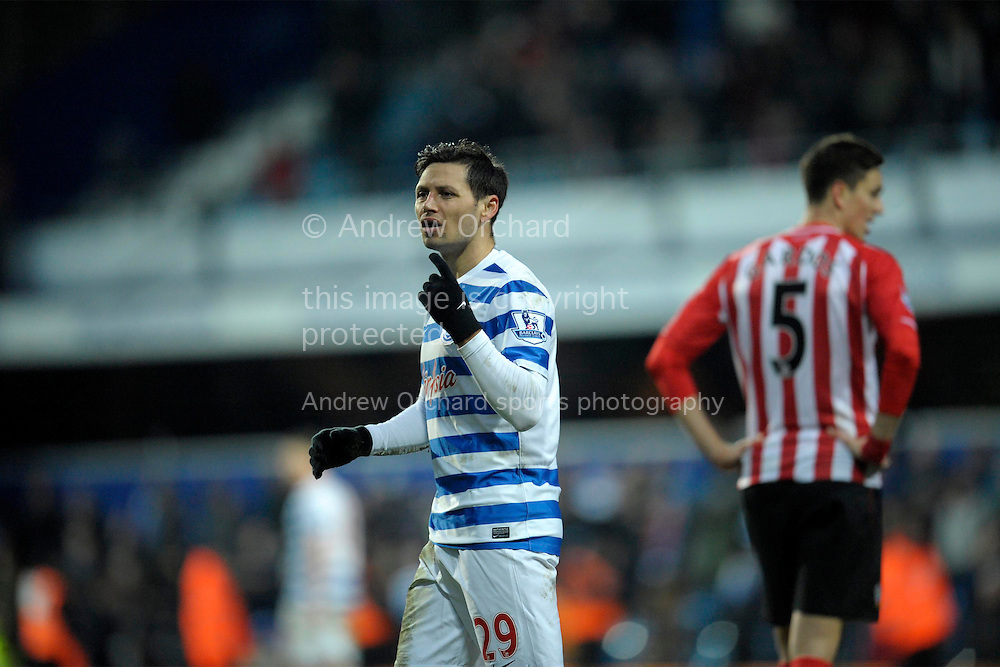Mauro Zarate of QPR looks  at the linesmen after his late 'goal' was disallowed. Barclays Premier league match, Queens Park Rangers v Southampton at Loftus Road in London on Saturday 7th Feb 2015. pic by John Patrick Fletcher, Andrew Orchard sports photography.