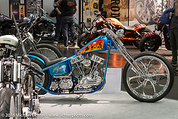 Johnny Martinsson's Jolly Jumper Swedish Style S&S Panhead chopper at the AMD World Championship of Custom Bike Building show in the custom themed Hall 10 at the Intermot Motorcycle Trade Fair. Cologne, Germany. Tuesday October 4, 2016. Photography ©2016 Michael Lichter.