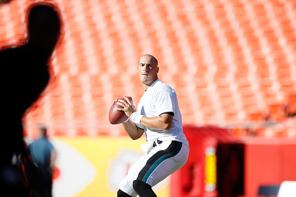Philadelphia Eagles quarterback Mike Kafka #3 warms up before the NFL Preseason Game between the Philadelphia Eagles and the Kansas City Chiefs. The Eagles won 20-17 at Arrowhead Stadium in Kansas City, Missouri on Friday August 27th 2010. (Photo By Brian Garfinkel)
