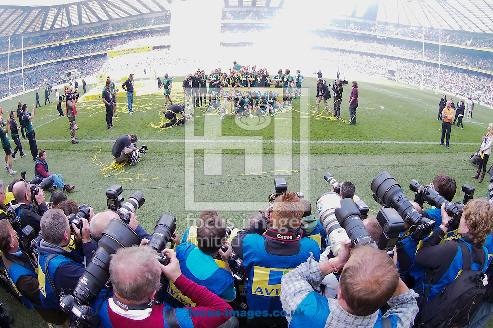 Picture by Andrew Tobin/Focus Images Ltd +44 7710 761829.25/05/2013. Photographers surround Leicester as they celebrate winning the Premiership after beating Northampton during the Aviva Premiership match at Twickenham Stadium, Twickenham.