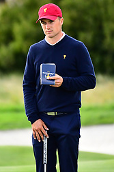 September 30, 2017 - Jersey City, New Jersey, U.S - Jordan Spieth of the US Team during Saturday matches of the Presidents Cup at Liberty National Golf Club in Jersey City, NJ  (Credit Image: © Brian Ciancio via ZUMA Wire)
