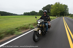 Marcin Grela of Poland riding his 1936 Harley Davidson VLH during Stage 4 of the Motorcycle Cannonball Cross-Country Endurance Run, which on this day ran from Chatanooga to Clarksville, TN., USA. Monday, September 8, 2014.  Photography ©2014 Michael Lichter.