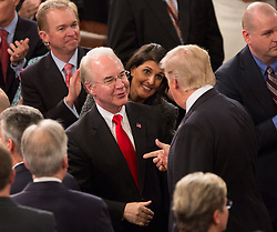 United States President Donald J. Trump speaks with Health and Human Service Secretary Tom Price before addressing a joint session of Congress on Capitol Hill in Washington, DC, USA, February 28, 2017. Photo by Chris Kleponis/CNP/ABACAPRESS.COM