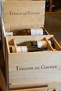 wooden cases stamped terroir de corton dom m juillot mercurey burgundy france